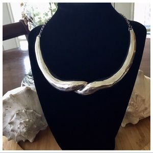 """Vintage Sterling Silver 1960's Thick Choker 18"""""""